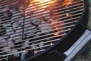 Charcoal Grill with hot briquettes